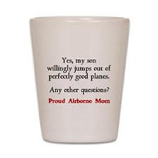 My son jumps...mom Shot Glass