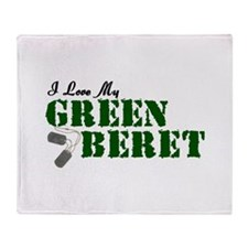 I Love My Green Beret Throw Blanket