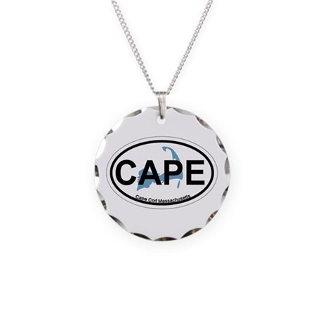 Cape Cod MA - Oval Design Necklace Circle Charm