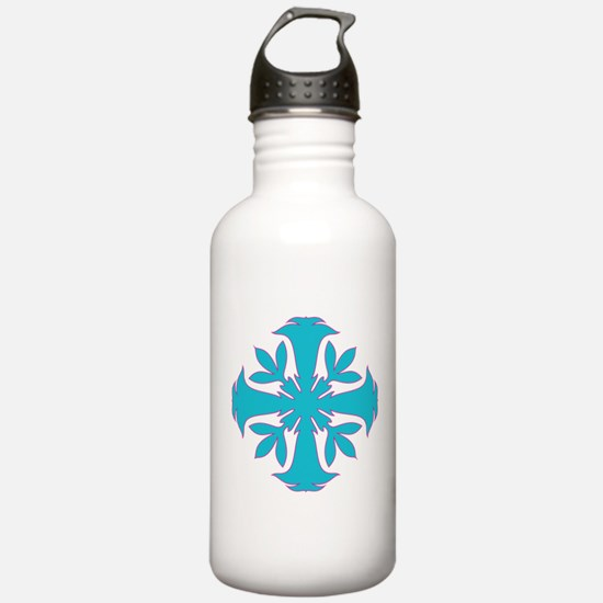 Angel Trumpet in Aqua and Pink Water Bottle