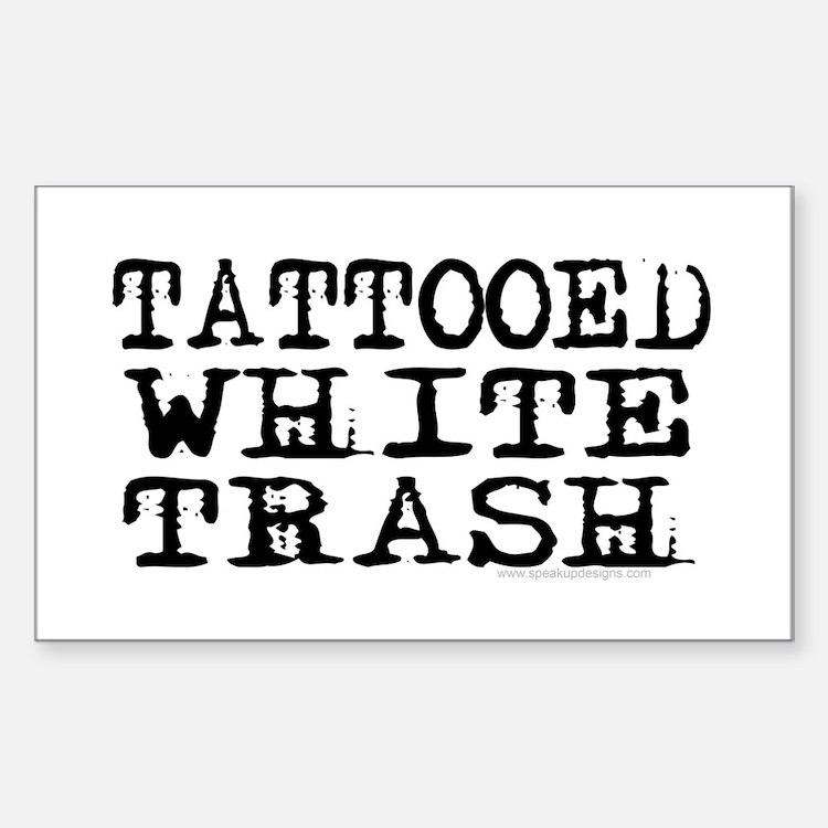 Tattooed White Trash (Block) Rectangle Decal
