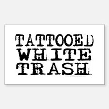 Tattooed White Trash (Block) Rectangle Stickers