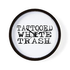 Tattooed White Trash (Block) Wall Clock