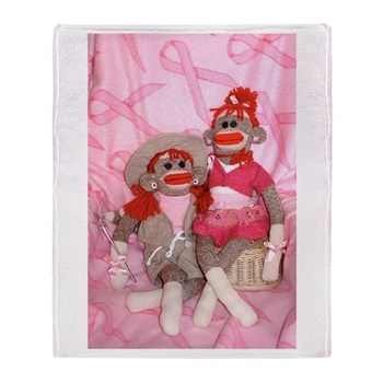 Sock Monkeys for the Cure Pink Throw Blanket