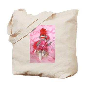 Sock Monkeys for the Cure Pink Ribbon Tote Bag