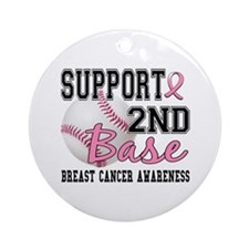 Second 2nd Base Breast Cancer Ornament (Round)
