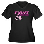 Fight Breast Cancer Pink Boxi Women's Plus Size V-