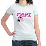 Fight Breast Cancer Pink Boxi Jr. Ringer T-Shirt