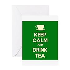Keep Calm & Drink Tea (Green) Greeting Card