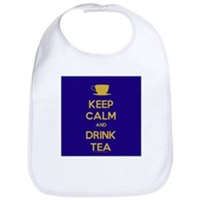 Keep Calm & Drink Tea (Dark Blue) Bib