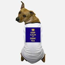 Keep Calm & Drink Tea (Dark Blue) Dog T-Shirt