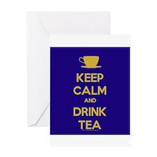 Keep Calm & Drink Tea (Dark Blue) Greeting Card