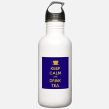 Keep Calm & Drink Tea (Dark Blue) Water Bottle