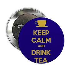 "Keep Calm & Drink Tea (Dark Blue) 2.25"" Button"
