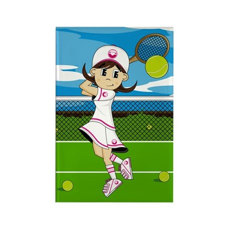 Cute Tennis Girl Magnet