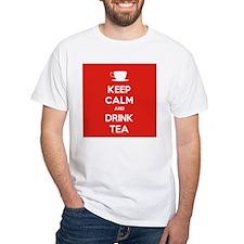Keep Calm & Drink Tea (White on Red) Shirt