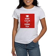 Keep Calm & Drink Tea (White on Red) Tee