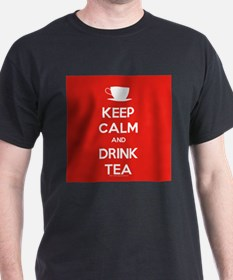 Keep Calm & Drink Tea (White on Red) T-Shirt