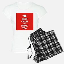 Keep Calm & Drink Tea (White on Red) Pajamas