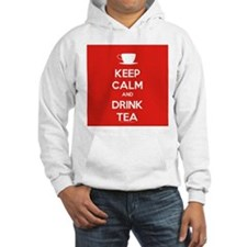Keep Calm & Drink Tea (White on Red) Jumper Hoody