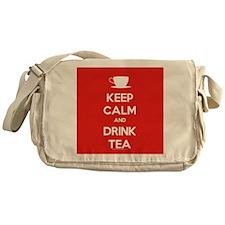 Keep Calm & Drink Tea (White on Red) Messenger Bag