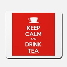 Keep Calm & Drink Tea (White on Red) Mousepad