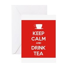 Keep Calm & Drink Tea (White on Red) Greeting Card