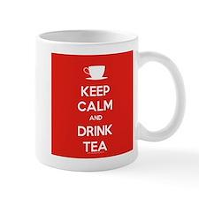 Keep Calm & Drink Tea (White on Red) Mug