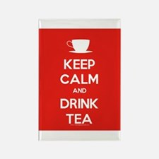 Keep Calm & Drink Tea (White on Red) Rectangle Mag