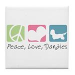 Peace, Love, Dandies Tile Coaster
