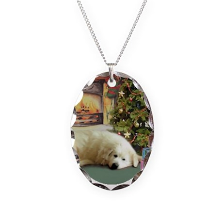 Great Pyrenees Christmas Necklace Oval Charm