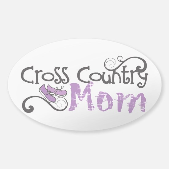 Cross Country Mom Sticker (Oval)