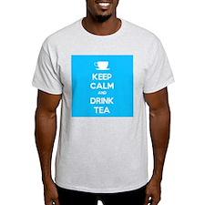 Keep Calm & Drink Tea (Light Blue) T-Shirt