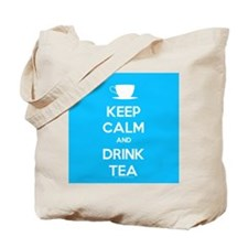 Keep Calm & Drink Tea (Light Blue) Tote Bag