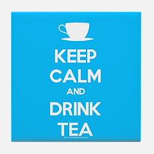 Keep Calm & Drink Tea (Light Blue) Tile Coaster