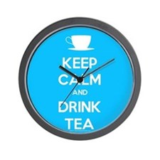 Keep Calm & Drink Tea (Light Blue) Wall Clock