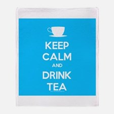 Keep Calm & Drink Tea (Light Blue) Throw Blanket