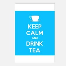 Keep Calm & Drink Tea (Light Blue) Postcards (Pack