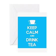 Keep Calm & Drink Tea (Light Blue) Greeting Card