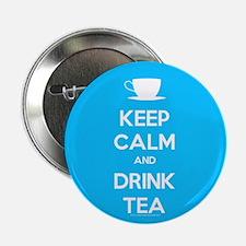 """Keep Calm & Drink Tea (Light Blue) 2.25"""" Button (1"""