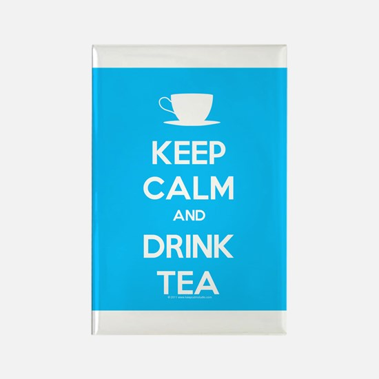 Keep Calm & Drink Tea (Light Blue) Rectangle Magne