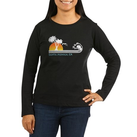 Santa Monica Women's Long Sleeve Dark T-Shirt