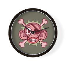 Pink Monkey Pirate Wall Clock