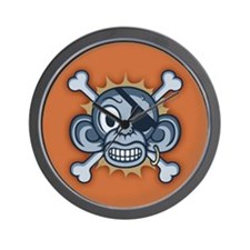 Blue Monkey Pirate Wall Clock