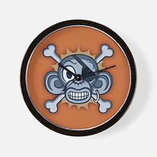 Blue Monkey Pirate Wall Clock