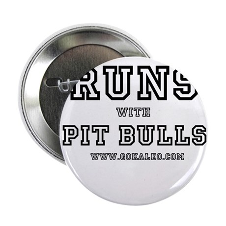 """Runs with Pit Bulls 2.25"""" Button (10 pack)"""