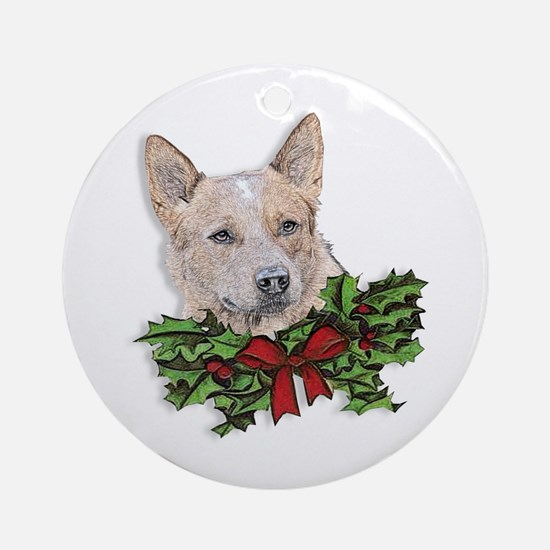 Red Heeler Christmas Ornament (Round)