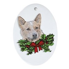 Red Heeler Christmas Ornament (Oval)