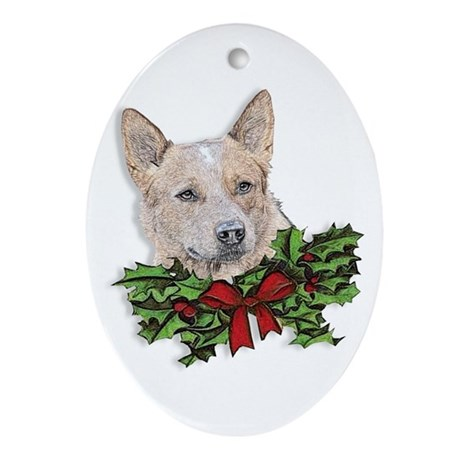 Red Heeler Christmas Ornament (Oval)