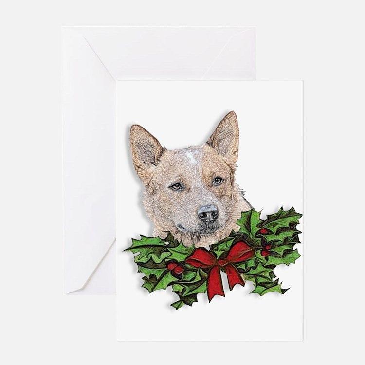 Red Heeler Christmas Greeting Card